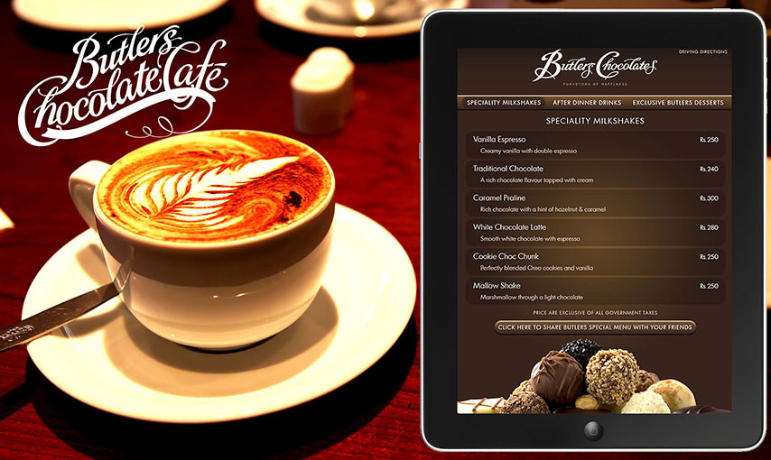 Butlers Chocolate Cafe Menu App