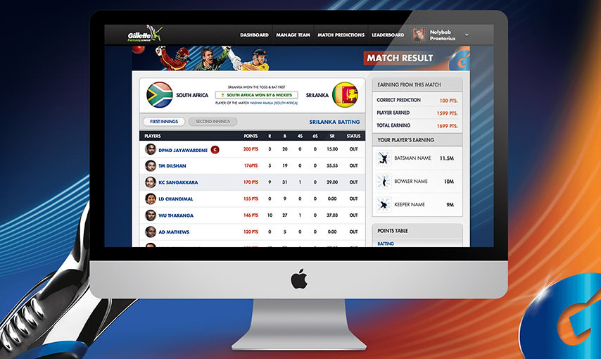 Gillette Cricket Fantasy Game
