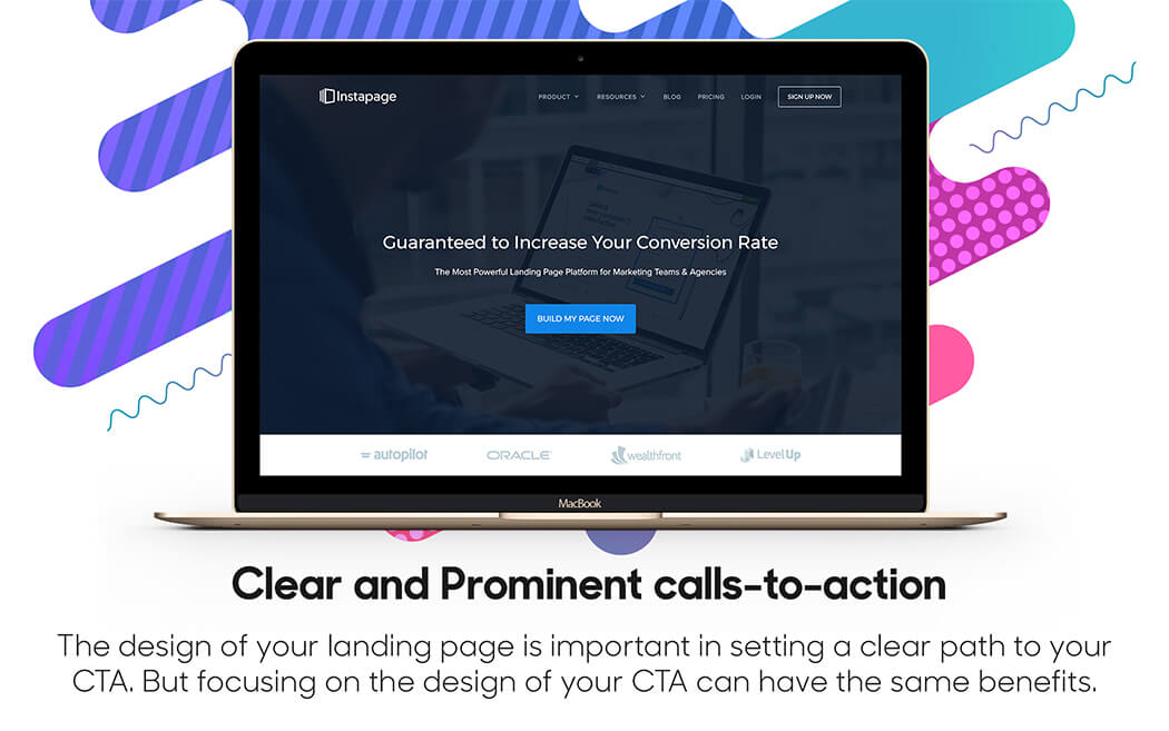 Prominent calls-to-action