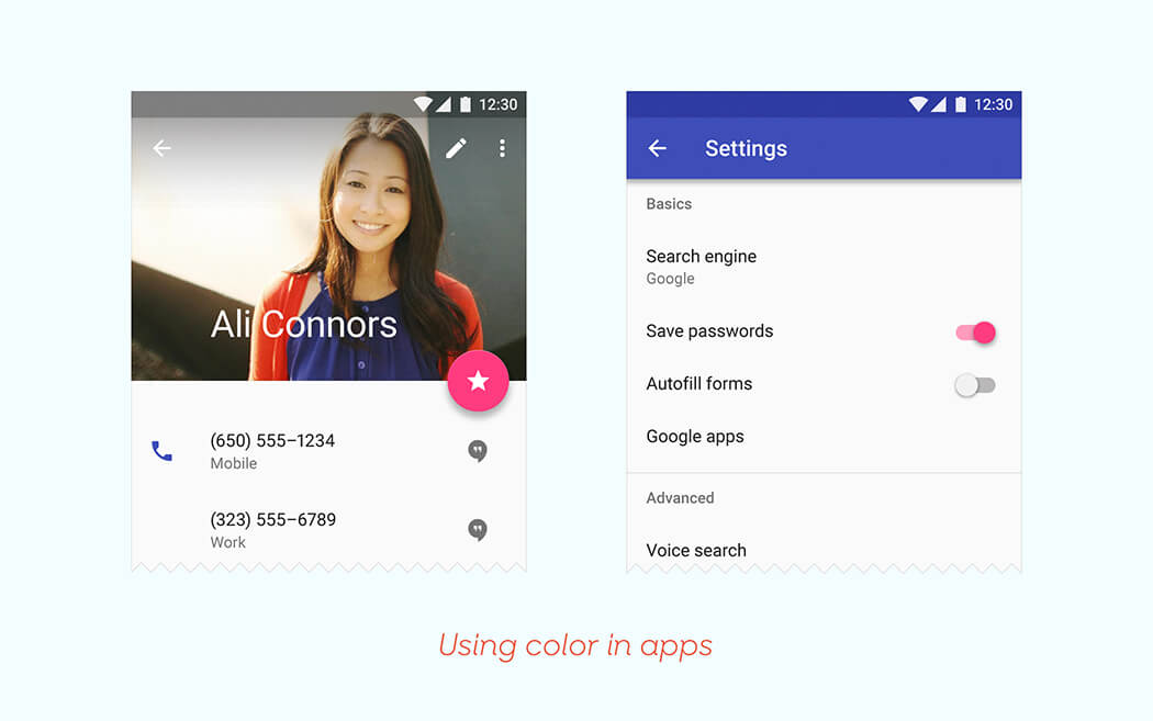 Material Design Color Use